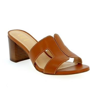 Muiltjes - slippers Delaere Cognac